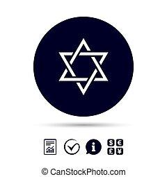 Star of David sign icon. Symbol of Israel. Jewish hexagram...