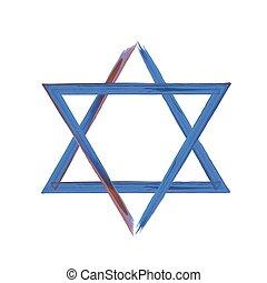 Star of David sign on white