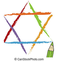 Star of David sketch - Doodle style Star of David Jewish ...