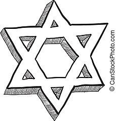 Star of David sketch - Doodle style Star of David Jewish...
