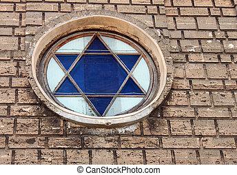 Star of David in window of synagogue, Eupatoriya