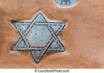 Star of David - Mosaic of Star of David on the wall of Roman...