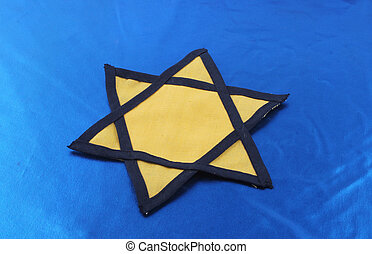 Star of David - A yellow Star of David on blue background
