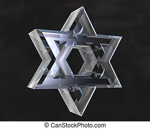 Star of David Symbol in glass - 3d