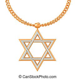 Star of David symbol on golden chain, 3D rendering