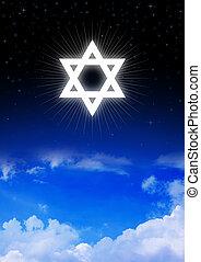 Star of David symbol on night sky