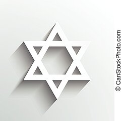 Star of David, white with shadows design