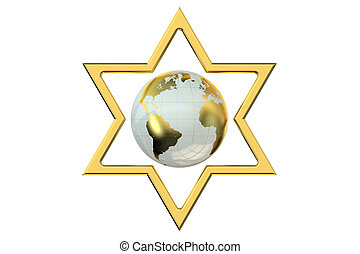 Star of David with Earth