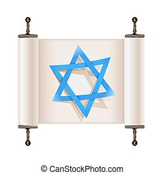 Star of David with shadow on Hebrew ancient scroll. Sign of Judaic religion and faith. Vector illustration