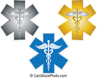 Star of Life Caduceus Medical Symbol Illustration - Star of...