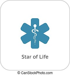 Star of Life Icon. Flat Design.