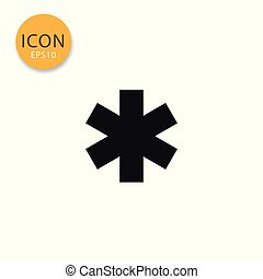 Star of life icon isolated flat style.