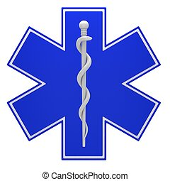 Star of life medical symbol isolated on a white background.
