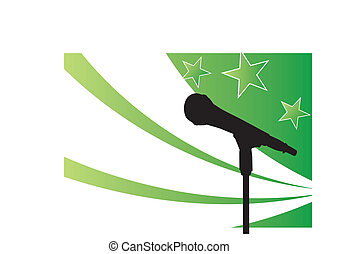 star on the mic - silouetted microphone on stand in front of...