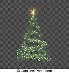 star., or, éclat, lumière, symbole, decoration., arbre, illustration, transparent, année, arrière-plan., clair, vecteur, vert, joyeux, nouveau, vacances, noël, celebration., heureux