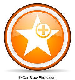 star orange glossy icon on white background