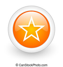 star orange glossy web icon on white background