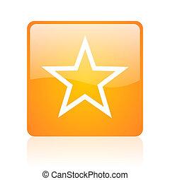 star orange square glossy web icon