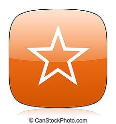 star orange square web design glossy icon