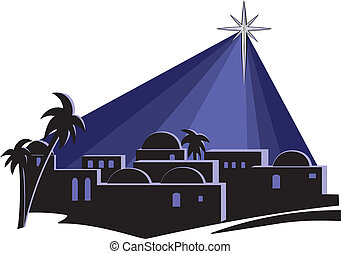 An isolated illustration of the town of Bethlehem at night, at the time of the birth of Jesus, with a bright star shining down on the buildings.