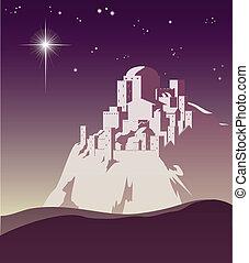 Illustration of Christmas star over Bethlehem announcing the birth of Jesus