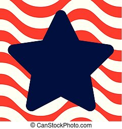 Star Over Wavy Background - A simple navy blue star shape...