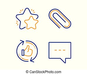 Star, Paper clip and Refresh like icons set. Blog sign. Customer feedback, Attach paperclip, Thumbs up counter. Vector