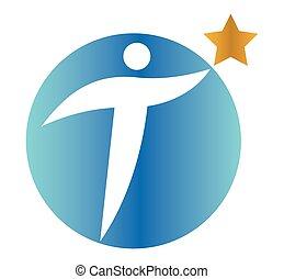 Star Person Concept Icon Design