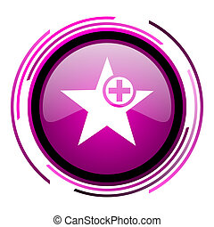 Star pink glossy web icon isolated on white background