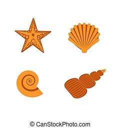 star., plage, style., sous-marin, océan, illustration, mer, summer., ensemble, blanc, orange, mondiale, plat, coquilles, etoile mer, vecteur, isolé