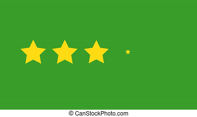 star rating animation. Rating five stars on green background. 4k video