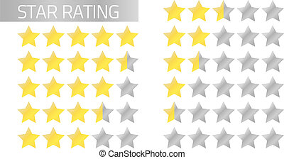 Isolated star rating in flat style 5 to 0 stars (full and half stars)
