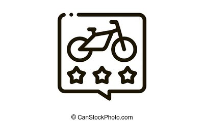 star rating bike sharing services Icon Animation. black star rating bike sharing services animated icon on white background