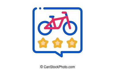 star rating bike sharing services Icon Animation. color star rating bike sharing services animated icon on white background