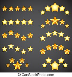 Star Rating Icons - Collection of golden five star rating ...