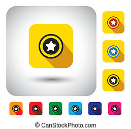 star rating sign on button - flat design vector icon.