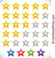 Star rating system with 3d stars. Quality, rating, ranking concepts. 5 colors included. Vector.