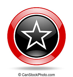 star red and black web glossy round icon