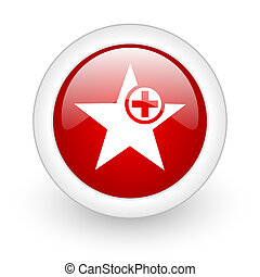 star red circle glossy web icon on white background