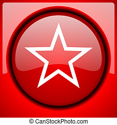 star red icon plastic glossy button