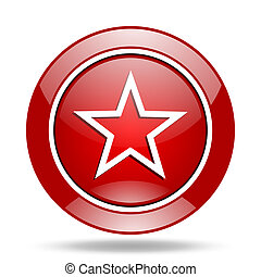 star red web glossy round icon