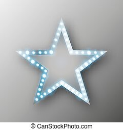 Star retro banner with lights