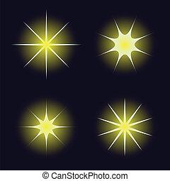 Star samples on the dark blue backg