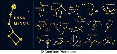 star., scintillement, hémisphère, constellations, points, ...