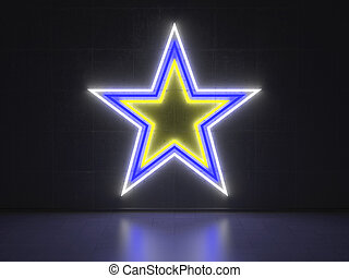 A Yellow, Blue and White Neon Sign in Form of a Star on a Wall of Concrete