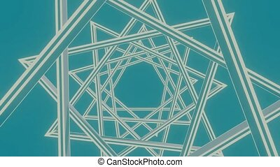 Star shape animation, rotating triangles creating caleidoscopic patterns and interesting visual effects, white lines on ocean blue background. Simple minimalist movie
