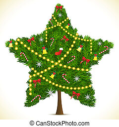 illustration of star shape christmas tree on abstract background