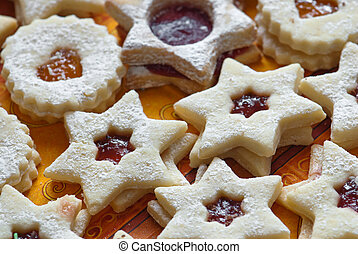 Star shape cookies - Star shape cakes on a napkin.