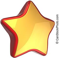 Star shape golden with red border - Golden star shape luxury...