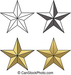 Star Shape is an illustration of four different star shapes going from a simple black and white to a full color version.